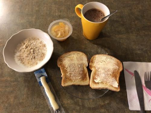 この日の朝食は、<br />トーストにバターと<br />いつものようにオートミール。<br />(牛乳バージョンのオートミールが好きです。)<br />フルーツカップにチーズとブレずにホットチョコレート。<br />そこに、茹で卵。<br /><br />朝から毎回、食べ過ぎって思うかもしれませんが<br />明け方就寝の為、<br />実質これがお昼のようなものでした。