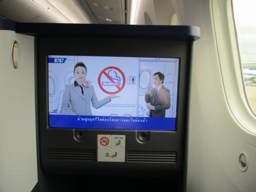 毎度お馴染みANAの非常用設備案内ビデオ。喫煙禁止の案内の際、トイレで喫煙しようとしてやめるオサーンがちらっとカメラ目線をするのが、いつもツボります。