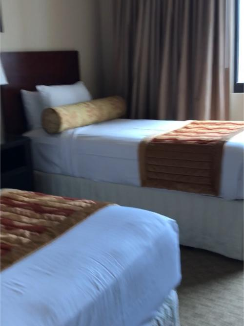 こちらはツインのお部屋。<br />向かって左側のお部屋です。<br /><br />ベッドが高い!<br />