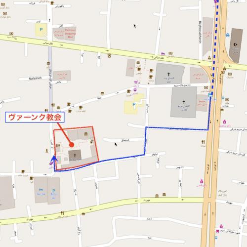 「Towhid St.」と「Eastern Nazar St.」との交差点付近でバスを降りると、ジョルファー地区付近となる。 ここからは歩いて「ヴァーンク教会」を目指す。 <br />
