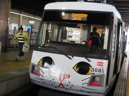 狙ったわけではないのですが、ちょうど停まっていた猫電車に乗り込んで来た道を戻ります。