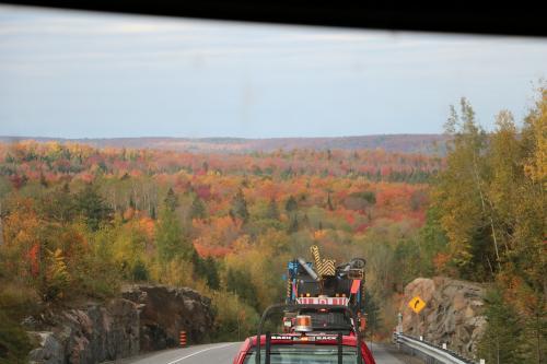 峠を超えるとバスの前に紅葉した森が出現。<br />これが見たかったのです。<br />紅葉のピークではありませんがとてもきれいです。