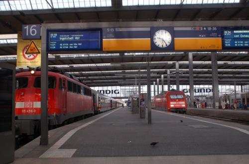 ミュンヘン中央駅のホーム。