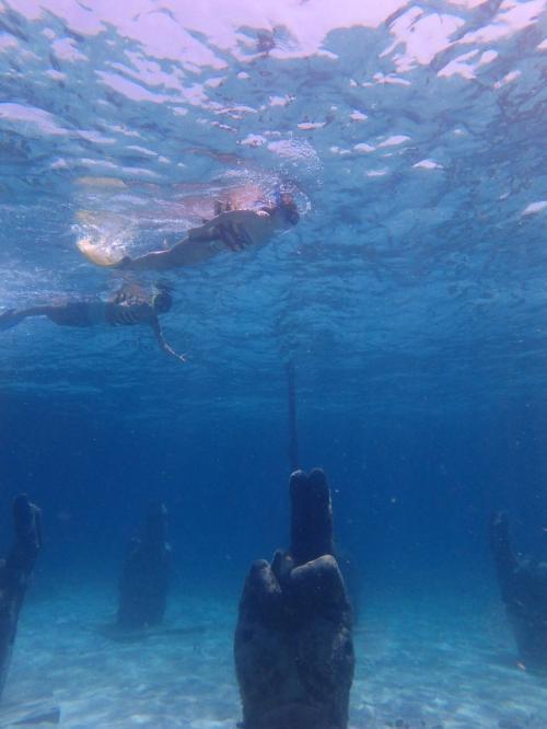 新しく海底美術館シュノーケルのポイントでの写真。<br /><br />このポイントはダイビングとは別のポイントなので、それほど彫刻が多いわけではないのだけれど、なかなか興味深い作品が展示されています。<br /><br />弊社のセーリングチャーターでは、こちらのポイントにご案内出来るようにする予定(^^)<br />