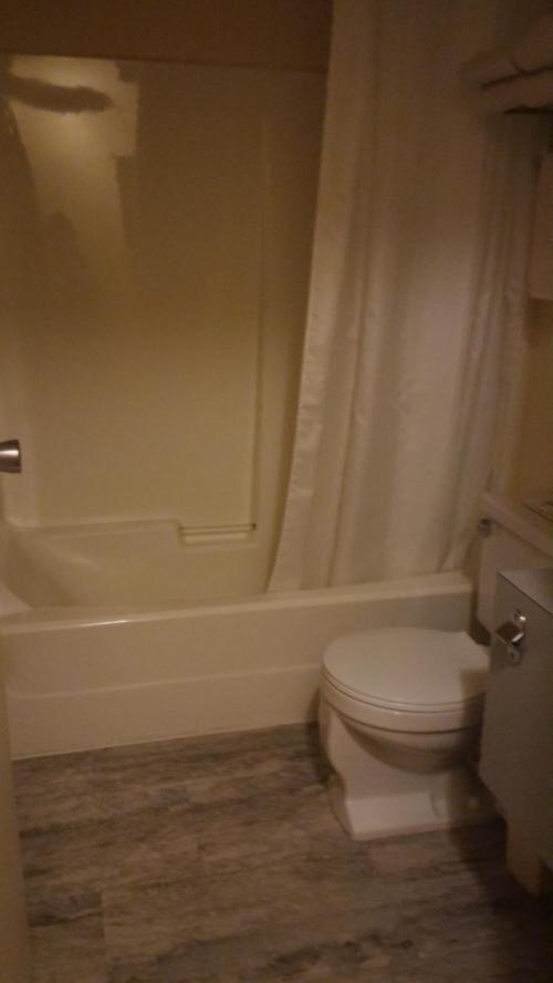 ただ、聞いてたとおり、シャワーは固定式で、あちこちに飛び回り、<br />カーテンがシャワーの風圧?でフワフワ舞って体につきまとい、<br />シャワーしにくかった(涙)<br />携帯式(折りたたみ)の洗面器もってきておいてよかった。<br />娘は固定シャワーは怖いので、お湯をためて洗面器でなんとかお風呂INしていました。