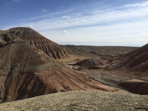 ちょっと小高いところに登って見るとこんな感じ。<br />いや~、素晴らしいよ!<br />よく「火星みたい」「地球じゃないみたい」という表現があるけど、まさにそんな感じの荒涼とした、でも面白い地形。<br />自然の造形美に感嘆。