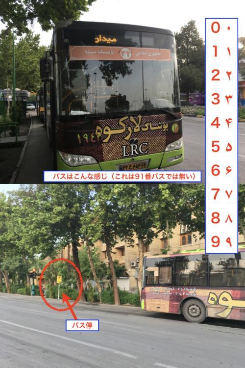 イランのバスはこんな感じ。 予想に反してかなり綺麗だ。 しかしながら、バスの路線番号がバス正面の上に書かれているのだが、ペルシャ数字で書かれているので少々難はある。 <br /><br />ちなみにペルシャ数字はこんな感じ。 南バスターミナル行きのバスは91番のバスで行くことができる。 他の番号のバスでもいけるかもしれないので、そこら辺の人に聞いてみるといいと思う。 基本的にイラン人は旅行者には優しいので、誰でも教えてくれると思う。 <br /><br />エンゲラーブ広場のバス停は写真下のような感じで、微妙にバス停らしい標識が立っている。 まあ、その辺で待っていれば問題なしだ。 <br /><br />