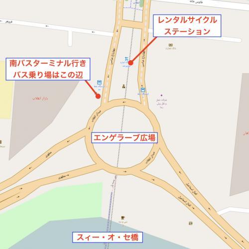 地図で説明するとこんな感じ。 バス停とレンタル自転車ステーションの位置関係はこんな感じ。 <br />