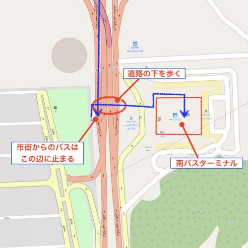 南バスターミナルまでは15~20分ぐらいで到着する。 南バスターミナルのバス停は南バスターミナルの近くを通る幹線道路上にある。 割とたくさんの人が降りるので、何となく場所はわかると思うのだが、不安であれば近くの人に聞いてみるのも良いかもしれない。 <br /><br />バスを降りたら、幹線道路の下を通る歩道を渡り、道路の反対側へ行く、すると南バスターミナルに到着する。 <br /><br />