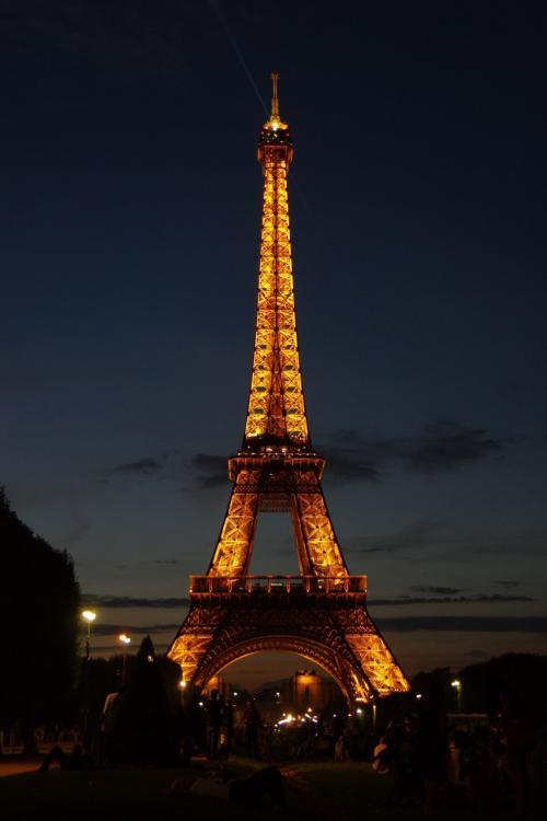 パリと言ったらもう1つ、エッフェル塔。<br /><br />夏のシーズン、夜にライトアップされると聞いていたので、あえて夜に。<br />日曜日ということもあって塔の前の広場では、老若男女問わず大勢の人がくつろいでいました。<br /><br />スリ等の治安に注意が必要です。