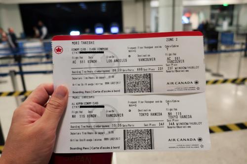 チケットはバンクーバーから先の羽田行きまで一緒に発券された。<br />これがオンラインチェックイン出来なかった理由かも。<br />