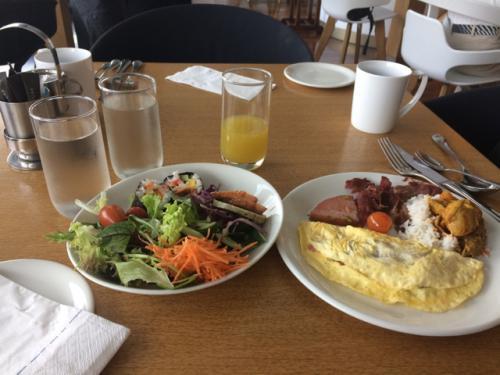 翌朝。<br />朝食会場は、結構品数が豊富でした!<br /><br />この皿ではあまり取ってませんが、日本のお寿司っぽいものがあったり、マレーシアのものがあったりと、選ぶだけでも目移りします。