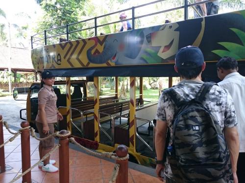 このバスでエレファントライドができるエリアに行きます。<br />新しい展示施設を沢山作っています。<br /><br />ちなみに動物園入園のみなら大人Rp378k / 子供Rp245k。