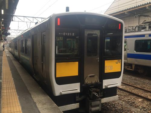 JR水戸駅から水郡線で、常陸鴻巣駅へ。<br />水郡線は3両編成のコンパクトな列車でした。