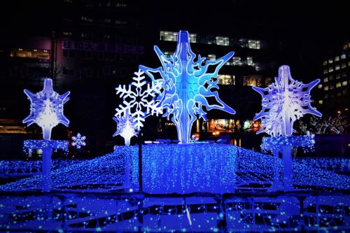 ☆大通3丁目会場<br />一番ここがメジャーかも。<br />このオブジェたちは、<br />雪のいぶき「スノークリスタル」。<br />