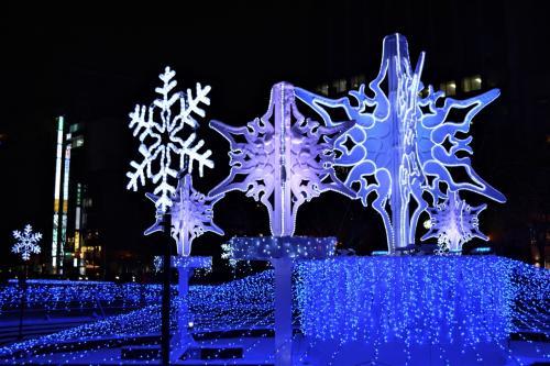 ☆大通3丁目会場<br />昭和56年(1981年)に<br />およそ1千個の電球ではじまった<br />札幌・大通公園のイルミネーションは、