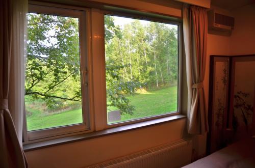 窓からは広大な芝地と森が眺められます。