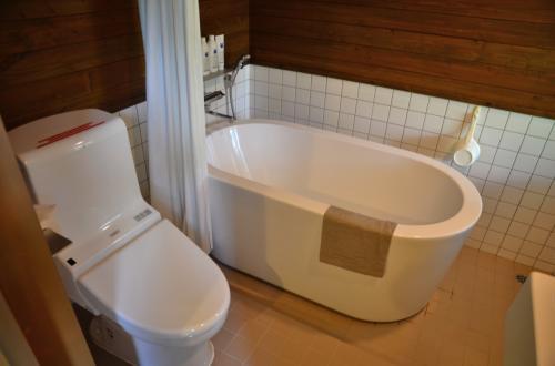 壁は腰丈から上はすべて木なので、温かみがあります。<br /><br />お風呂側とトイレ側の境に少し段差があるのが難点かな。お湯があふれたときのストッパーみたいなので、仕方ないけれど。