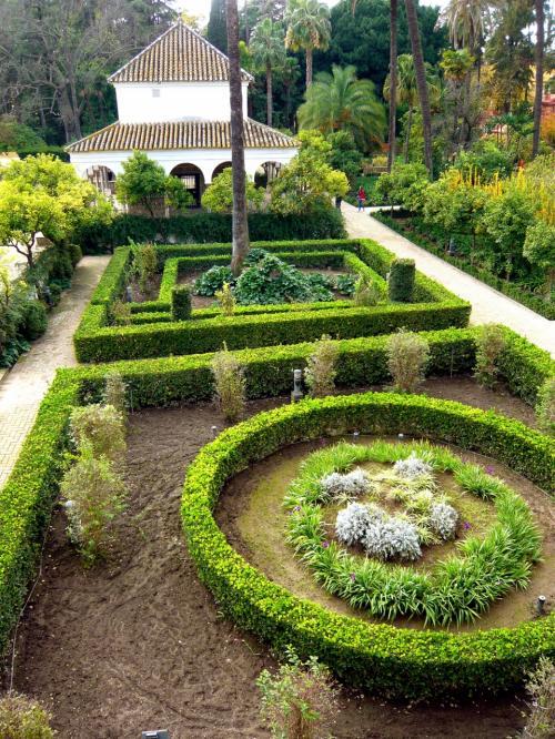 バルコニーから眺める庭園。