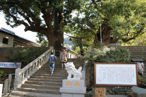ここが山王神社の入り口です。<br />ここには原爆でも生き残った巨大な楠木が2本立っています。