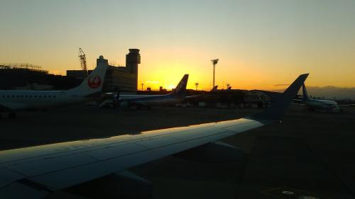 長崎へは大阪空港を7時5分発の飛行機に乗らなければならないので、家を車で朝5時前に出発し、大阪(伊丹)空港には6時前に到着。<br />この時期、夜明けが遅くなっているので外は真っ暗。<br />離陸前頃になってやっと夜が明け始めました。