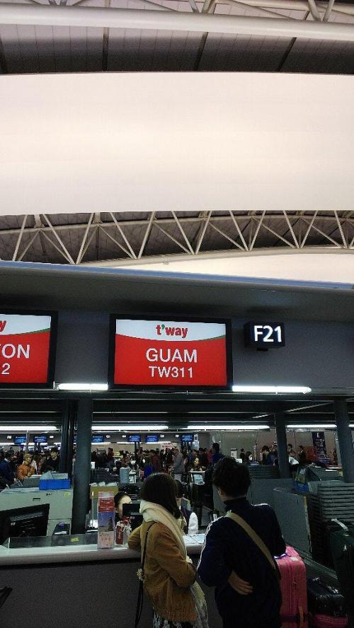 航空便は、前回と同じティウェイ航空。安いし飛行時間帯がとってもいいのでグアムはこれで決まり!!