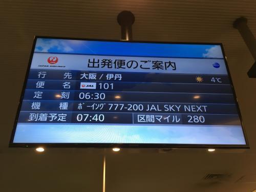 元旦フライトは、大阪伊丹空港行きJAL101便を選びました♪<br />1月01日にちなんで101便にして、座席はクラスJシート11列目を予約しました(汗)<br />↑こだわってみました(汗)
