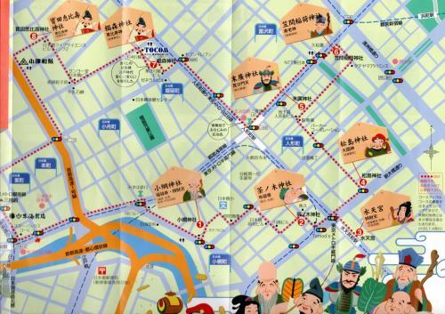コースは<br /><br />大混雑が予想されるので、あえて逆コースとして、8番目の「宝田恵比寿神社」から回ることにした。(三越からもらったマップ)。