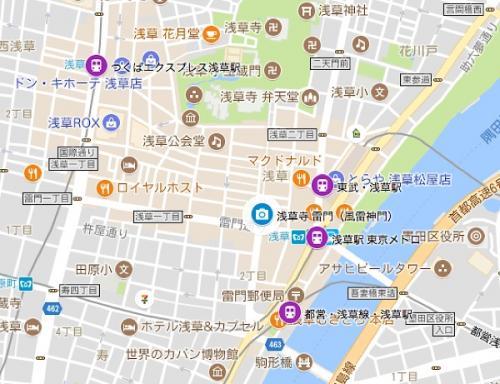 雷門に近い順に、東武鉄道、東京メトロ、都営地下鉄でした。つくばエクスプレスは、浅草寺の西口に一番近いようです。