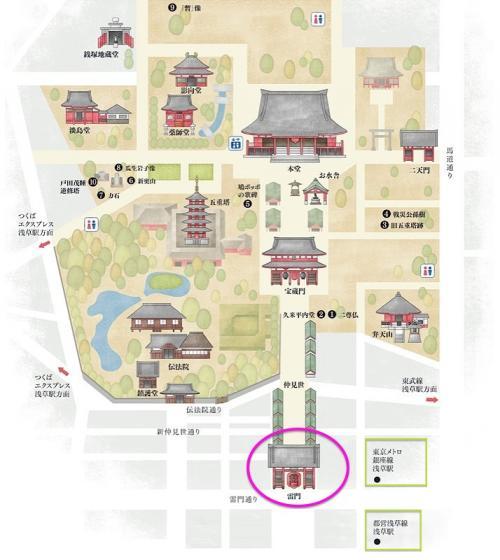 まずは浅草寺と雷門の位置関係から。。<br /><br />雷門は<br />いちばん南の門になります。<br /><br />
