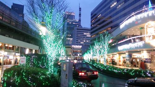 道路の両側にこのような緑の電球が灯されたイルミネーション飾りが並べられていました。