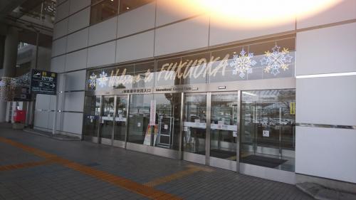 福岡空港国際線ターミナルの入り口。高速バスやタクシーの場合は3階になります。
