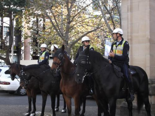 デモ隊の警備に、おまわりさんが。  馬に乗ってかっこいい。