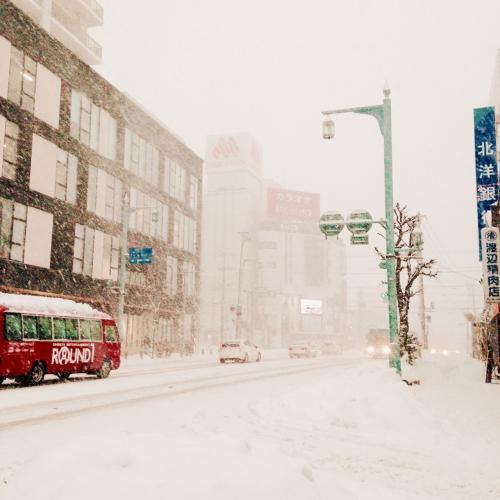 テンションに任せ、バスを降りて市電に乗り換える。<br />雪がすごいことになってきた。<br />市電ももちろんスイカが使える。