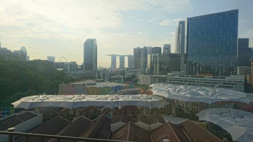 駅から徒歩5分ほどで今回のホテル「ノボテル・シンガポール・クラークキー」に到着です。<br />写真は部屋からの風景。<br /><br />到着時点で朝の9時頃?だったので、まだチェックインには早いからとりあえず荷物だけ預かってもらって観光に出掛けようと思ってました。<br /><br />以前もここに泊まって、1階がクロークで、レセプションは上の階ということは知っていたので、クロークに行って荷物を預けると、スタッフが「レセプションに行ってみたら、もう部屋使えるかもよ。聞いてみな。」と言ったので、従ってみることに。<br />ここで一回休めるのは大きいよ。使えるかな?と期待しつつレセプションへ。<br /><br />レセプションで用件を伝えると、何やら他の人に確認したりしてます。そして、「特別に今から部屋を使っていいですよ。ただ本来は14(13だったかな?)時からですからね。」と釘を刺されつつ、チェックインさせてもらえました。<br /><br />ラッキー!追加料金もなし!<br />クロークに預けたスーツケースも後で運んでくれるとのこと。ありがたいねぇ。<br />ここで横になれたら、午後の活動が随分楽になるよ。<br /><br />てことで、部屋でのまったり。<br /><br />友人に気を使い、部屋の写真は取りませんでした。空港や機内といい、今回は全然写真は取れてないなぁ。<br /><br />でもここのホテルはキレイで部屋も広く、朝食も種類が多いのでいいですよ。<br />一階にセブンイレブンがあるのでお菓子や飲み物もすぐに手に入るし、一、二階飲み物も一部が商業施設になってて、日本のお店も結構あります。<br />大抵エントランス前にタクシーが止まっていて、そこに無くても、ホテル横にタクシー乗り場もあるので、移動も便利です。(シンガポールはタクシー代が安く、車が新しくキレイなのでタクシー移動がオススメ。外は暑いからね)<br /><br />そして、クラークキーはオシャレなパブやバーがたくさんあって、夜も楽しめます!ホテルから徒歩3分くらいなので、多少遅くなってもすぐかえれるので安心。<br /><br />てことで、個人的にここのノボテル、オススメです。