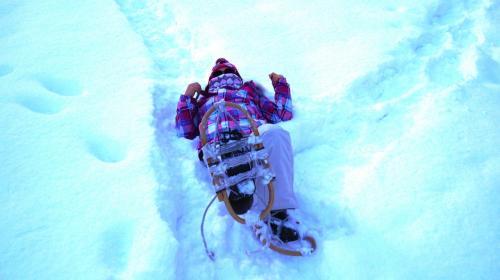 かんじきのかかとがだんだんずれてきて(かかとを縄に引っ掛けるようにするのがコツらしい)、はきなおそうとしたら、仰向けにひっくり返ってしまった私。(笑)<br /><br />雪の上だから平気だもんね~。