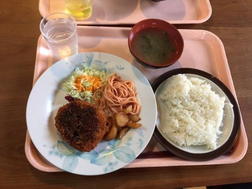 手作りメンチカツ定食・400円<br /><br />本当に手作りで、尚且つ注文が入ってから揚げたので熱々です、ここの学食はレベル高いですね。