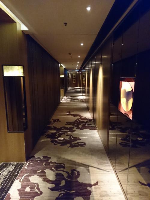チェックインを済ませてお部屋へ。<br />廊下の絨毯が心地よいです🐭