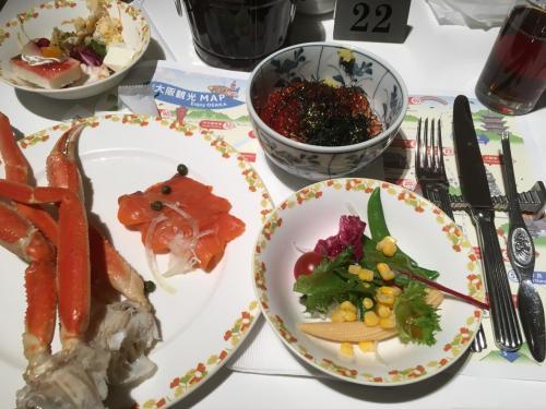 ホテル日航大阪で北海の幸祭りバッフェ カニだけにすれば良かったんだが。