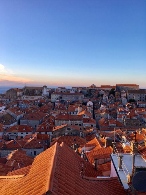〈7:40〉~お天気カメラCより~<br />青とオレンジの空×青いアドリア海とオレンジの屋根の組み合わせが美しい .。.:*☆