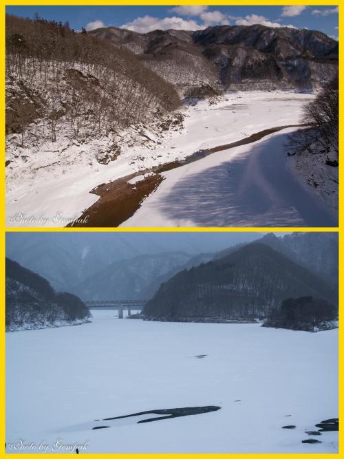 少し上流に行くと、かつての男鹿川の流れが姿を見せている。下の写真は、昨年1月の撮影。今回の撮影は、下の写真に写っている橋の上からの撮影で方向は真逆だが、風景がガラリと変わっている。五十里湖の水が抜かれたのは17年ぶりだというが、今後は水を抜く予定はないという。こんな風景が見られるのはこれが最後である。<br /> 江戸時代には、男鹿川に沿って会津と日光を結ぶ会津西街道が通っていて、かつての宿場町の後が姿を現しているらしい。この場所からは、その様子はうかがえないが・・・
