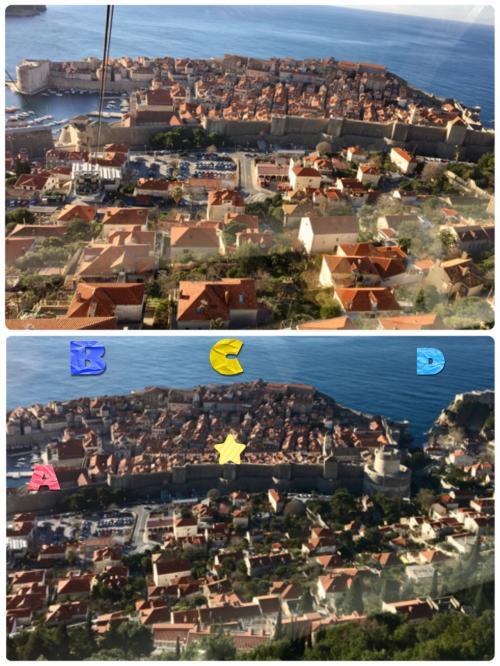 まず、ケーブルカーから撮った写真です。<br />上)上半分の城壁で囲まれた部分が旧市街<br />下)★マークの場所が宿泊先のルチチ<br /><br />この★マークの所から「ドブロヴニクのサンライズ」を4方向撮りました(^-^)v<br />※左方向からA,B,C,Dとなります。←重要!笑<br /><br />なんだか『定点観測』のようになってしまいましたが、時間ごとに違う表情を見せる「アドリア海&旧市街」の景色をお楽しみ下さい♪