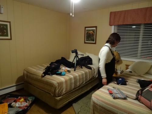 散らかった写真で申し訳ないです。<br /><br /><br />今夜のお宿は<br /><br />「チェナホットスプリングリゾート」<br /><br /><br />フェアバンクスから100キロくらい、1時間半くらいクルマで行ったところにある温泉リゾート。<br /><br />でっかい1棟建てのホテルではなくこじんまりとした離れがあり、一つの離れに4~10部屋のがある。<br /><br />