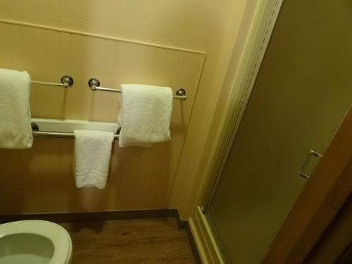 バストイレは完備している。<br /><br />お湯は基本的に温泉水。<br /><br />シャワールームはなかなかの狭さ。<br /><br />体を洗うには最低限の広さ。<br /><br />体を温めたいなら、温泉に行けばいいということだろう。