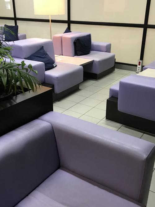 紫のソファーとカウンターのこじんまりとしたラウンジでトイレシャワーなし<br />クッションにVISAの文字が<br /><br />Wi-Fiのパスはところどころのテーブル上に<br />