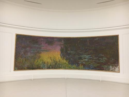 モネの睡蓮との初めての出会いは直島の地中美術館だったのですが、ずっと眺めているとまるで目の前に池が現れるような、不思議な感覚を味わったことを覚えています。<br />この、自然光あふれる部屋で、モネの睡蓮と向き合い、また同じ感覚を味わうことができました。芸術に詳しいわけではないけれど、間違いなく私のこころの琴線に触れる、感動を味わいました。これを見ることができた、それだけでもはるばるフランスまで来た意味がありました。