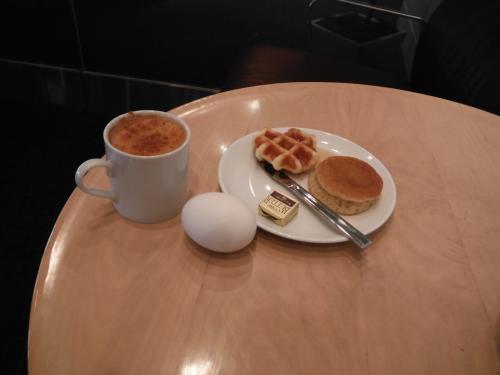 パンケーキとコーヒーで一休み。<br />