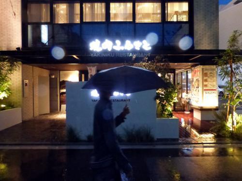 雨の降る中傘をさし