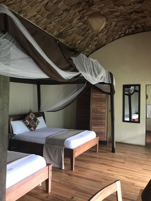 部屋のなかはこんな感じ。<br />蚊帳付きベッド。アフリカ感がありますね。<br />夜はお客の食事中に係の方が部屋に入ってこの蚊帳を下ろしてくれます。<br /><br />ここはシャワートイレ付き。お湯ももちろん出ました。<br />部屋には日の光があまり入らず、電気も弱いので、昼も夜はかなり暗いですが清潔で快適です。<br />備え付けの懐中電灯もありますが、電池切れしかけていました(^^;;