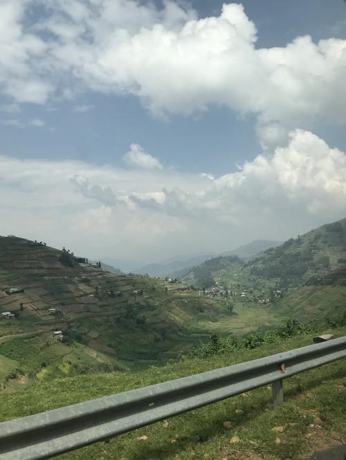 グリーンリーフツーリストの車に乗り換えて出発です!ガイドさんもデニスさんに交代。<br />両国のガイドさん同士、携帯で連絡を取り合ってきちんと引き継いでくれました。<br />ここからウガンダの旅が始まります。<br />